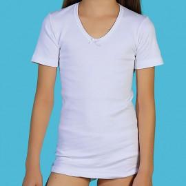 Camisetas térmicas niña manga corta 100% algodón peinado afelpado