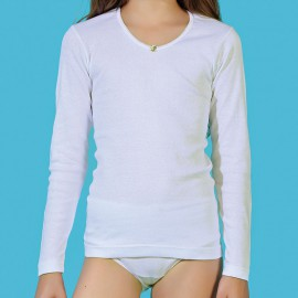 Camisetas térmicas niña manga larga 100% algodón peinado canalé