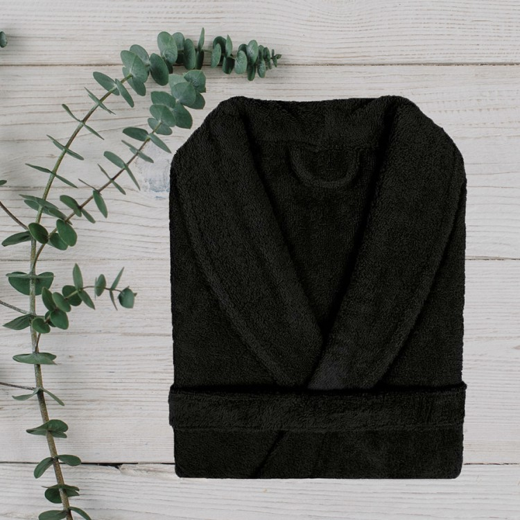 Pure Black 100% Cotton Bathrobe