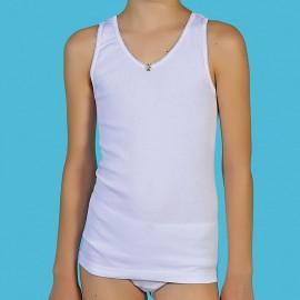 Camisetas niña tirante ancho algodón-canalé