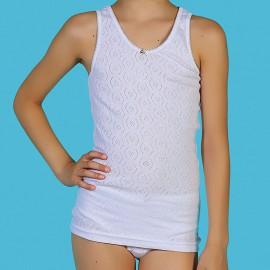 Camisetas niña tirante ancho algodón con transferencia