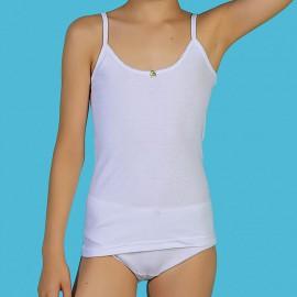 Camisetas niña tirante fino algodón-canalé