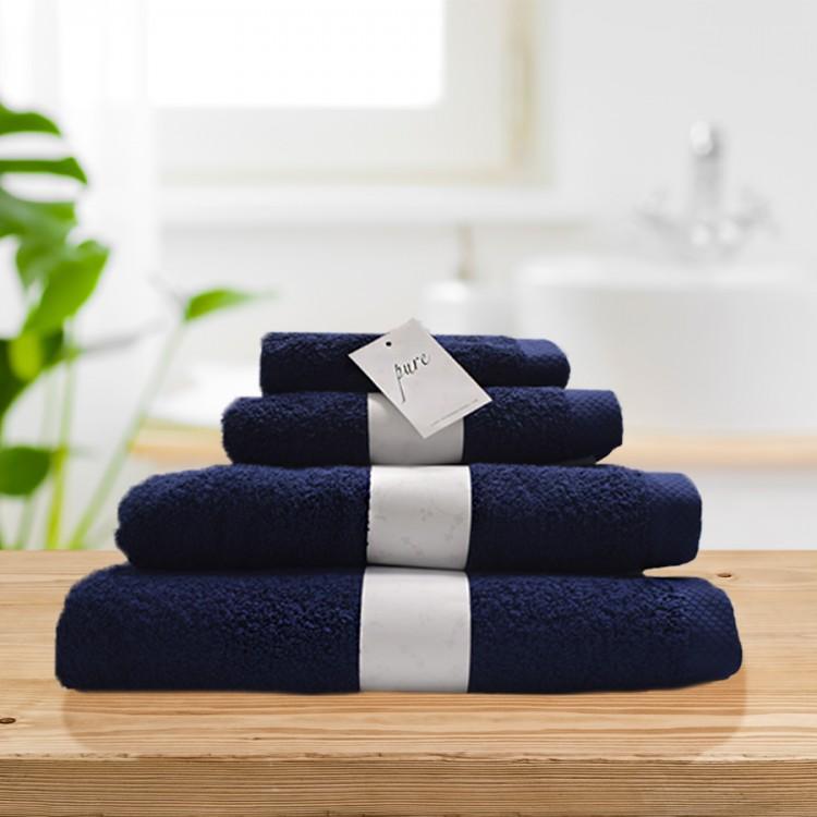 Pure navy blue 100% cotton towel