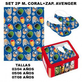Avengers SET 2P CORALINA BLANKET AND SLIPPERS