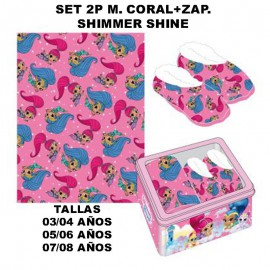 Shimmer Shine SET 2P CORALINA BLANKET AND SLIPPERS